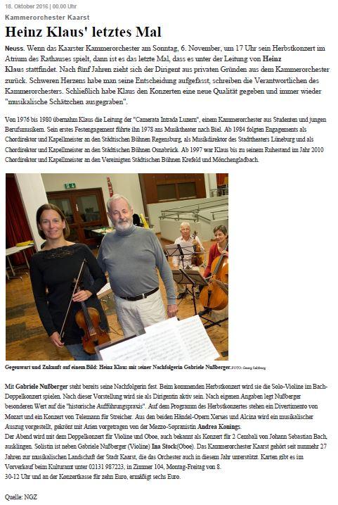 NGZ Konzertankündigung Kammerorchester Kaarst 6.11.2016