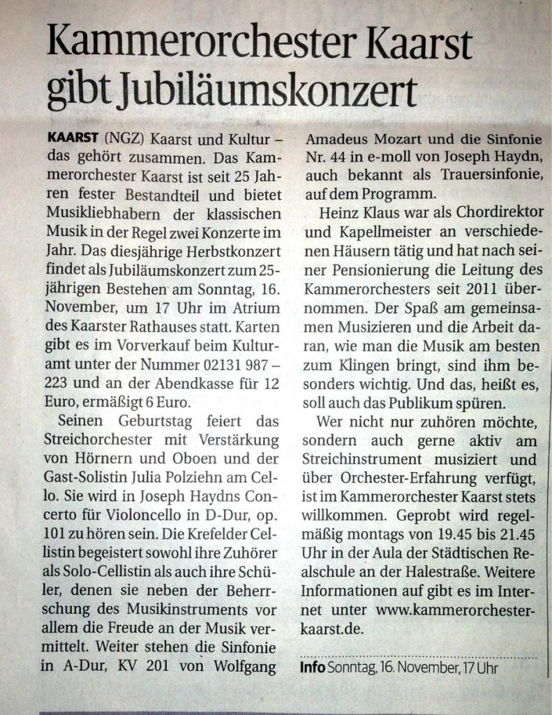 NGZ Kammerorchester Jubiläumskonzert 2014
