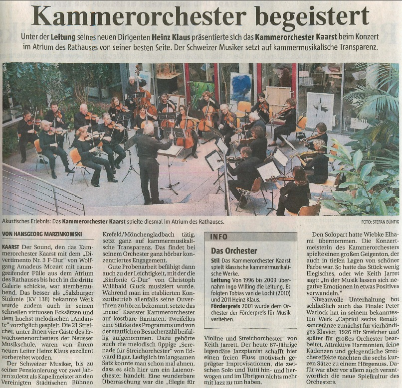 NGZ Kammerorchester Kaarst 2012