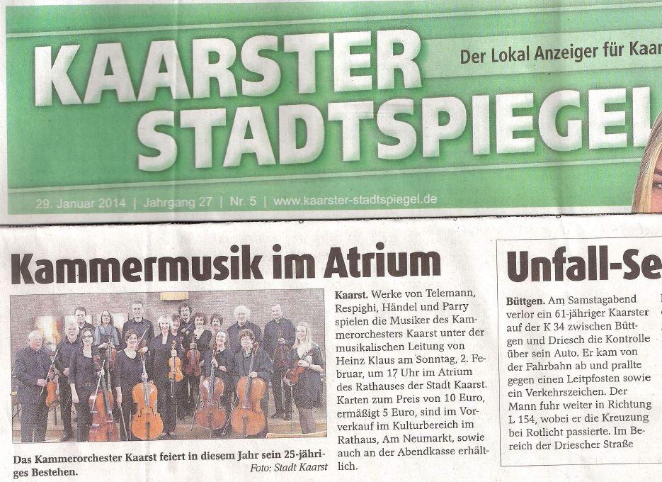 Kaarster Stadtspiegel_Kammerorchester Kaarst_28.1.14