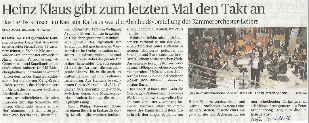 NGZ Abschiedskonzert Heinz Klaus 6.11.2016