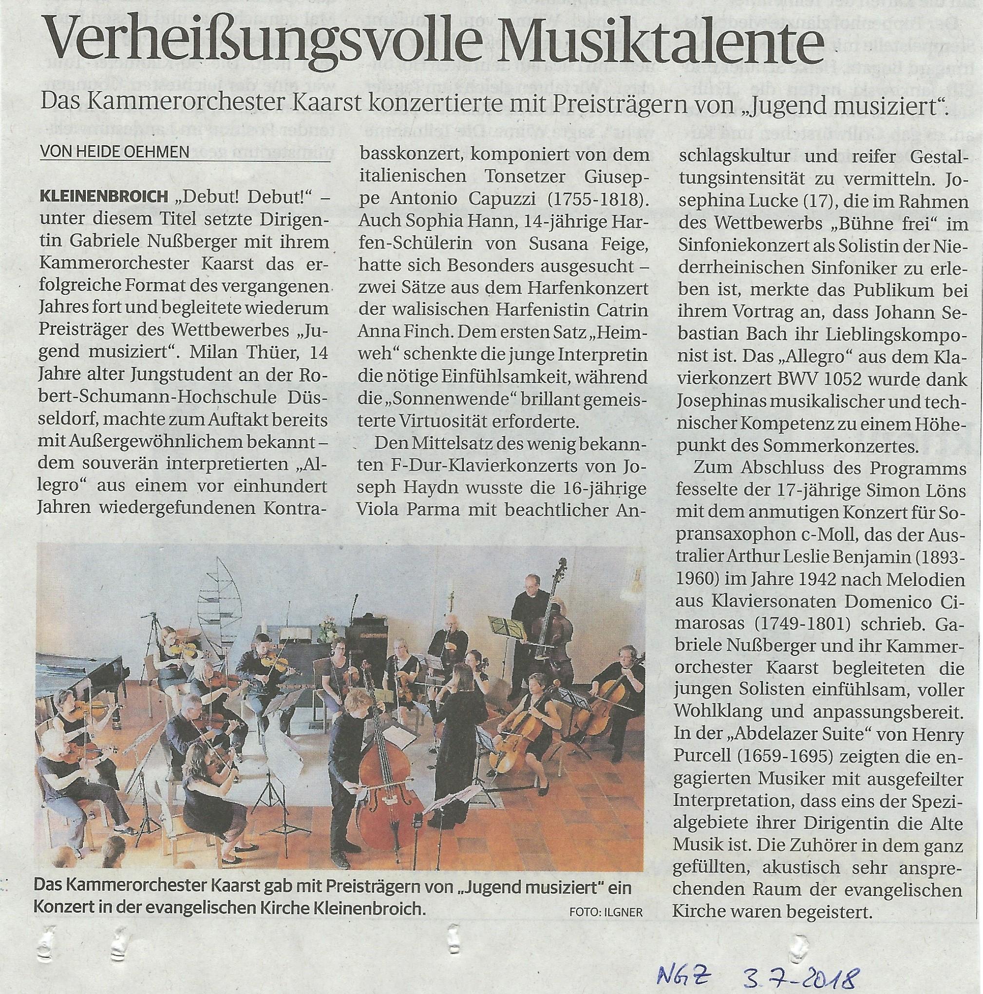 NGZ Musiktalente mit Kammerorchester Kaarst am 1.7.2018