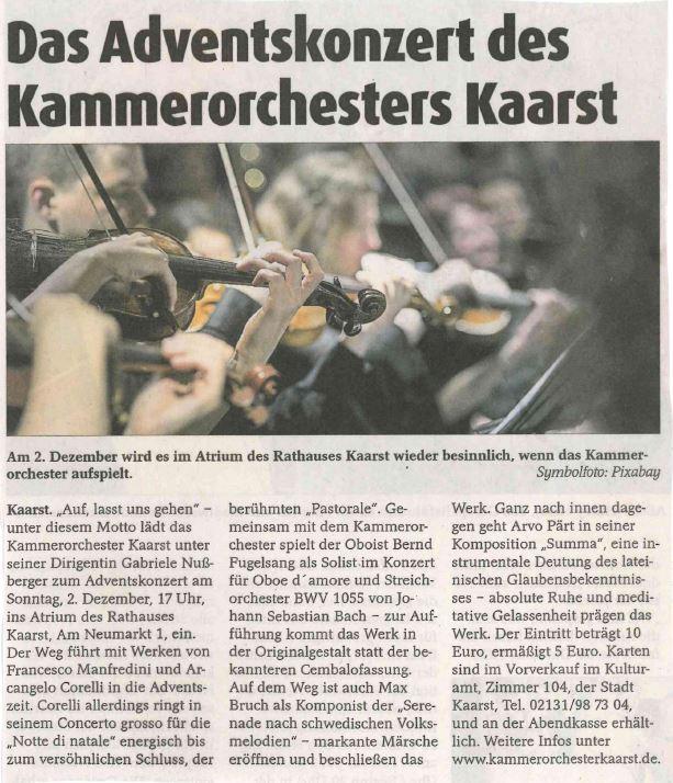 20181112_Kaarster Stadtkurier_Ankündigung Konzert 2.12.18