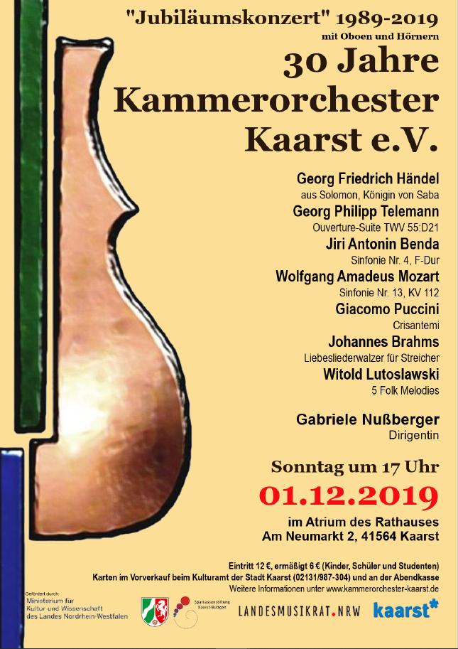 Konzert Kammerorchester Kaarst am 1.12.2019