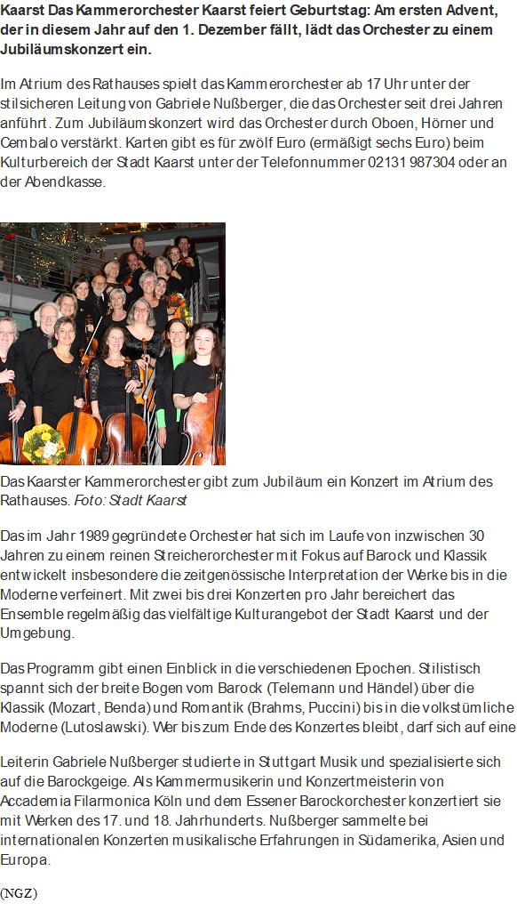 Jubiläumskonzert Kammerorchester Kaarst